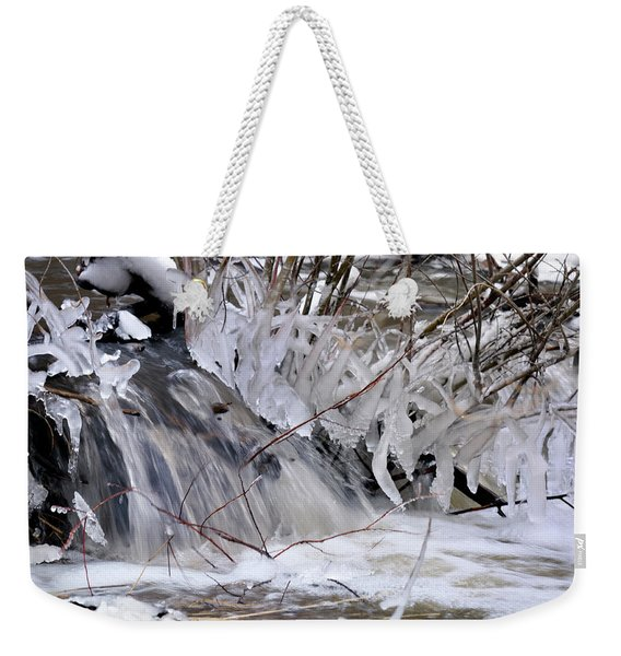 Weekender Tote Bag featuring the photograph Icy Spring by Ron Cline