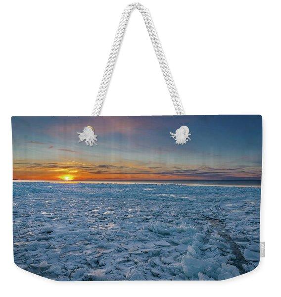 Icy Sunset Weekender Tote Bag