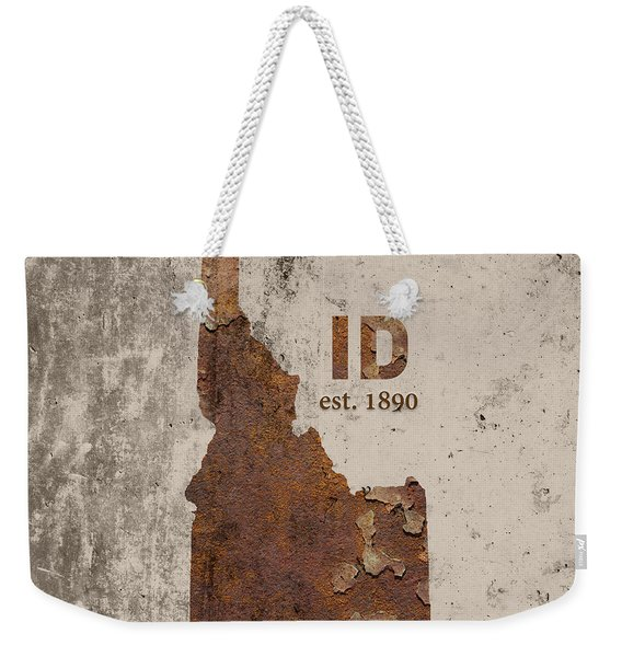 Idaho State Map Industrial Rusted Metal On Cement Wall With Founding Date Series 045 Weekender Tote Bag