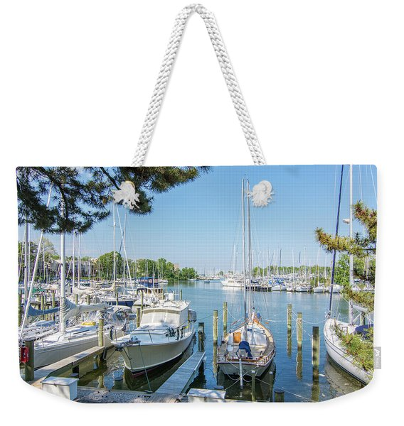 Idle Boats Back Creek Annapolis Weekender Tote Bag
