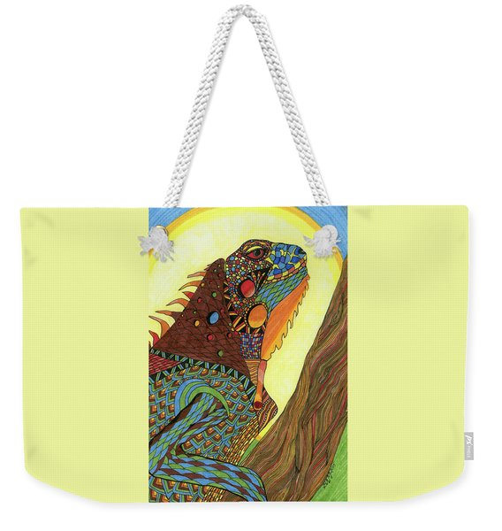 Weekender Tote Bag featuring the drawing Iguana by Barbara McConoughey