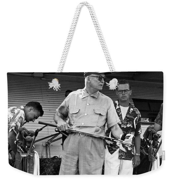 Ike Plays Golf In Hawaii Weekender Tote Bag