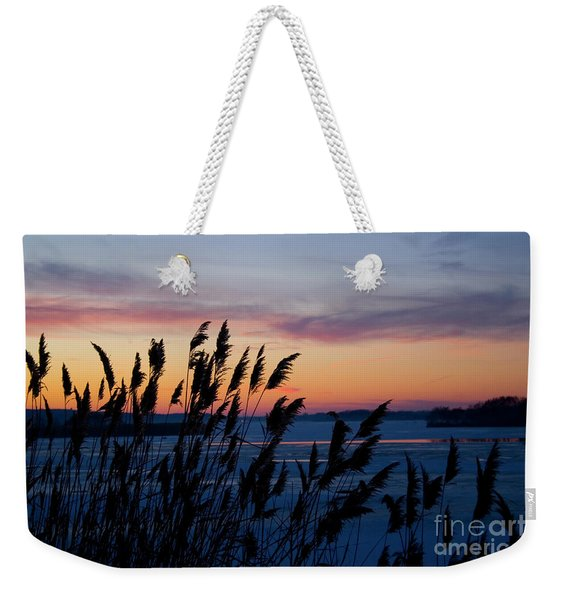 Illinois River Winter Sunset Weekender Tote Bag