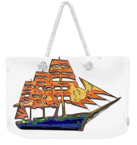Illustration Of A Funny Sailing Vessel 2 Weekender Tote Bag