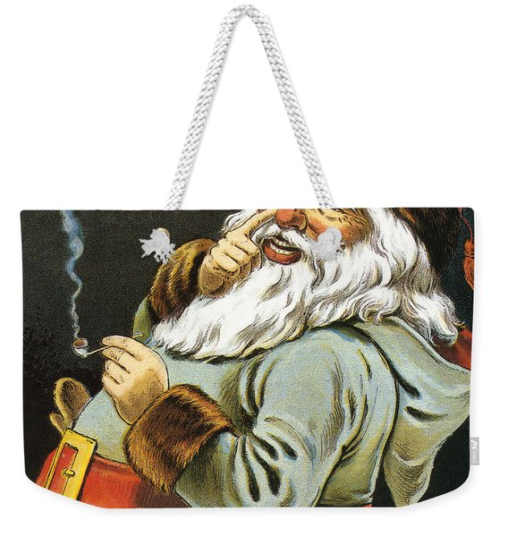 Illustration Of Santa Claus Smoking A Pipe Weekender Tote Bag