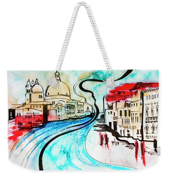 illustration of travel, Venice Weekender Tote Bag