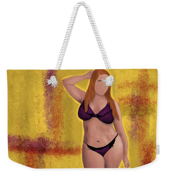 Weekender Tote Bag featuring the digital art I'm No Model Either by Bria Elyce