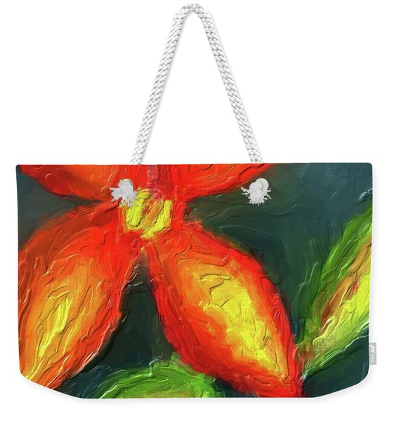 Impasto Red And Yellow Flower Weekender Tote Bag