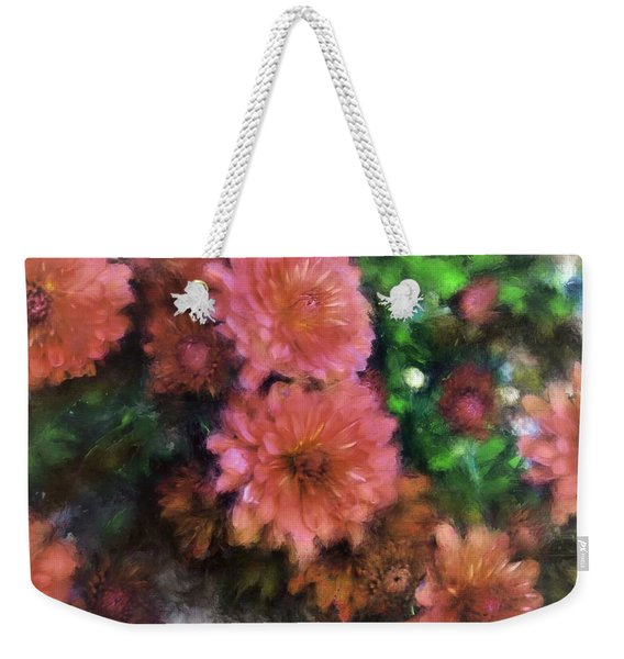 Bronze And Pink Mums Weekender Tote Bag