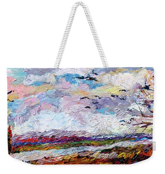 Impressionist Autumn Panoramic Landscape Bird Migration Weekender Tote Bag