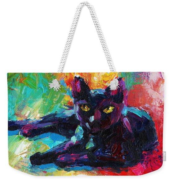 Impressionistic Black Cat Painting 2 Weekender Tote Bag