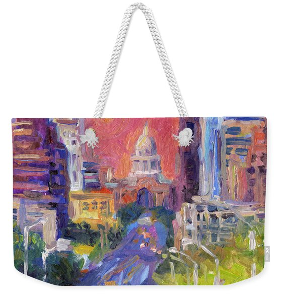 Impressionistic Downtown Austin City Painting Weekender Tote Bag