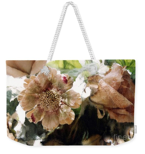 Impressionistic Green Peach Coral Floral Prints - Romantic Watercolor Peach Green Floral Decor Weekender Tote Bag