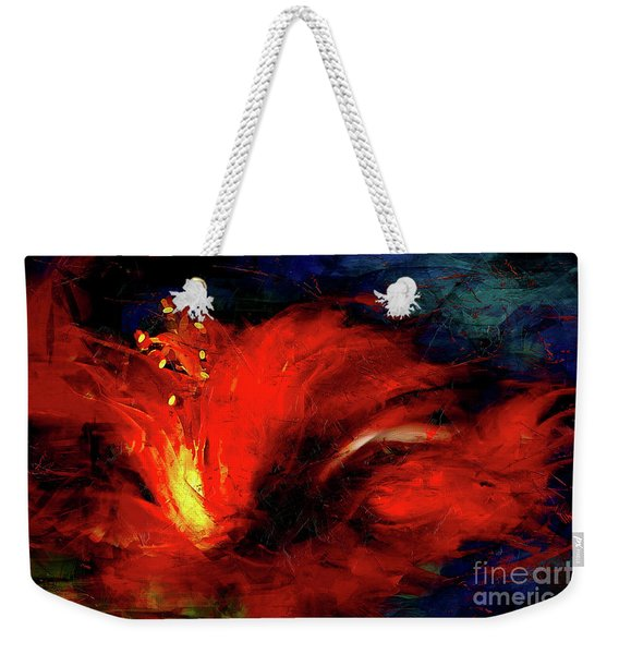 In Red Abstract Hibiscus Weekender Tote Bag