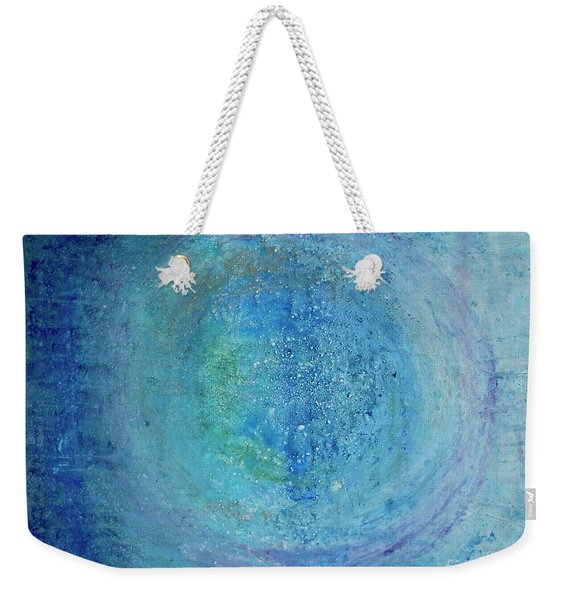 Weekender Tote Bag featuring the painting In The Beginning, Cosmic by Kim Nelson