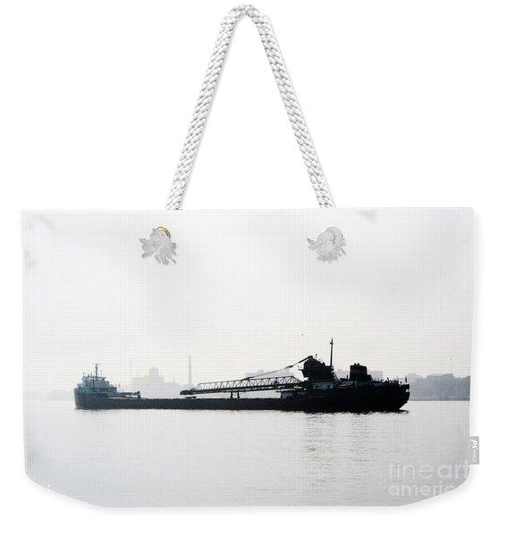 In The Fog On Detroit River Weekender Tote Bag