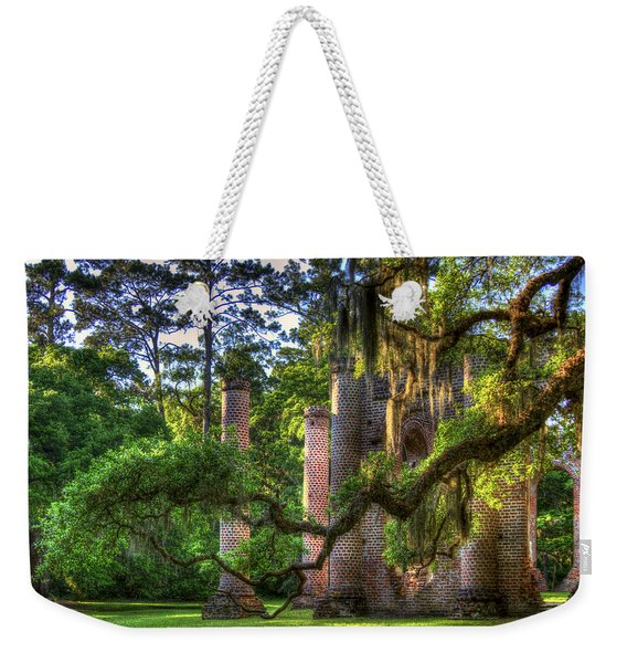 In The Light Spanish Moss Old Sheldon Church Ruins Weekender Tote Bag