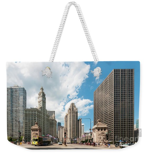 In The Middle Of Wacker And Michigan Weekender Tote Bag