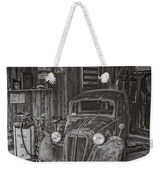 In The Old Garage Weekender Tote Bag