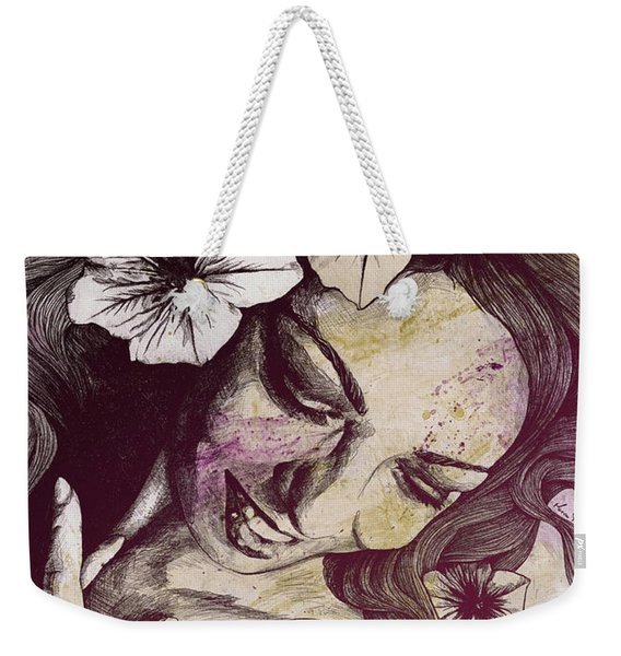 In The Year Of Our Lord - Wine - Smiling Lady With Petunias Weekender Tote Bag