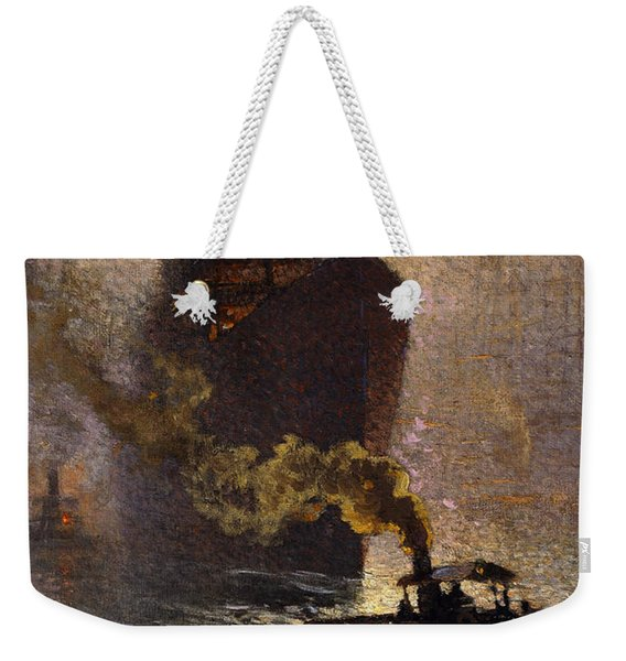 In Tow On The Thames In The Fog Weekender Tote Bag