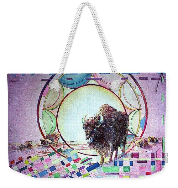 Indian Buffalo Circle Weekender Tote Bag