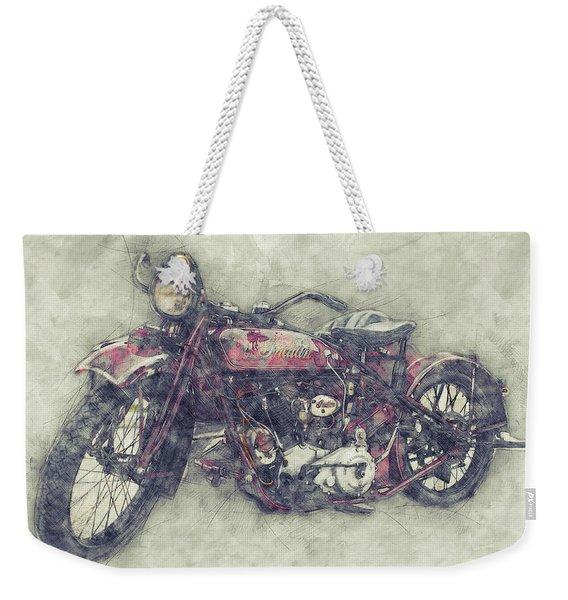 Indian Chief 1 - 1922 - Vintage Motorcycle Poster - Automotive Art Weekender Tote Bag
