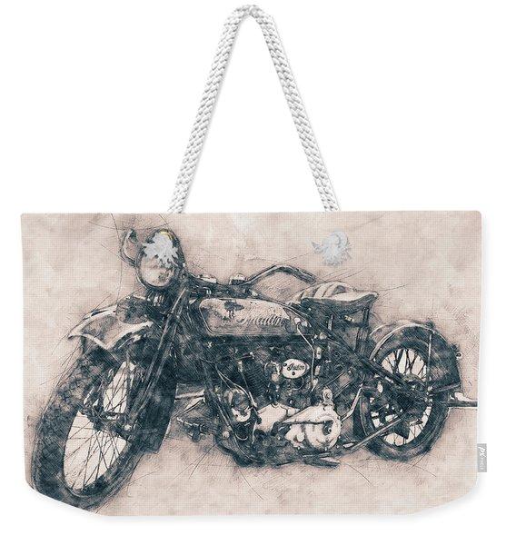 Indian Chief - 1922 - Vintage Motorcycle Poster - Automotive Art Weekender Tote Bag
