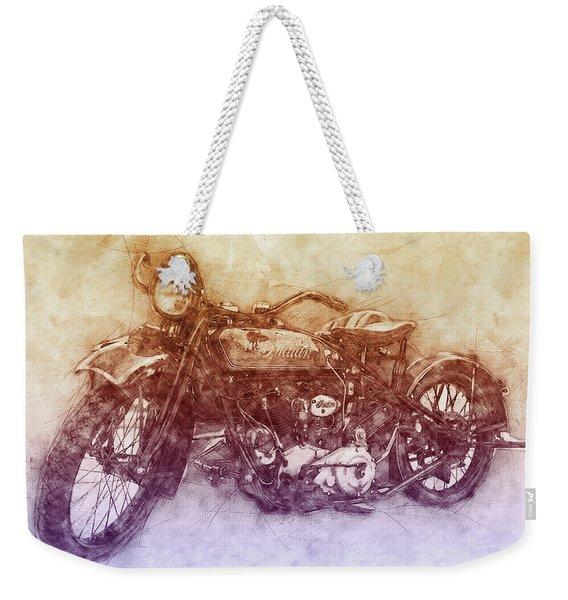 Indian Chief 2 - 1922 - Vintage Motorcycle Poster - Automotive Art Weekender Tote Bag