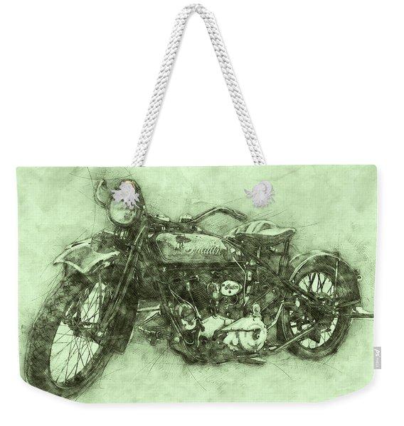 Indian Chief 3 - 1922 - Vintage Motorcycle Poster - Automotive Art Weekender Tote Bag