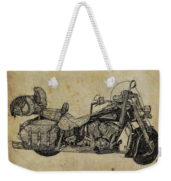 Indian Motorcycle On Vintage Background, Gift For Bikers, Man Cave Decoration Weekender Tote Bag
