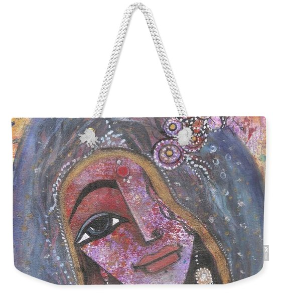 Indian Rajasthani Woman With Colorful Background  Weekender Tote Bag