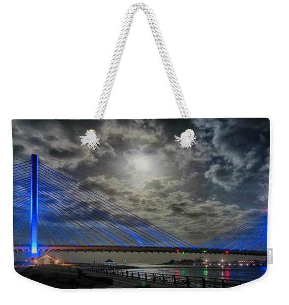 Indian River Bridge Moonlight Panorama Weekender Tote Bag