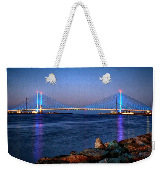 Indian River Inlet Bridge Twilight Weekender Tote Bag