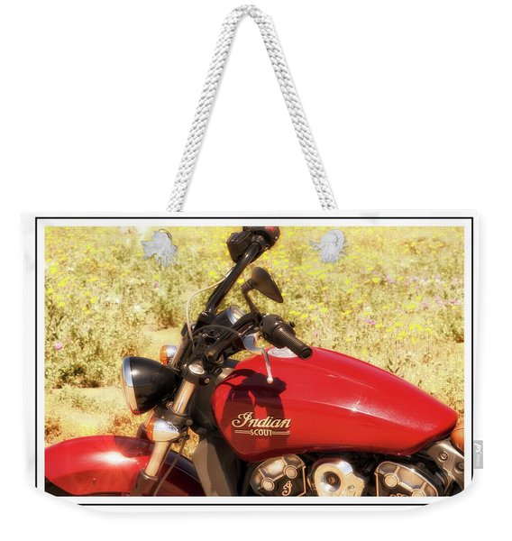 Weekender Tote Bag featuring the photograph Indian Scot Motor Cycle by Michael Hope