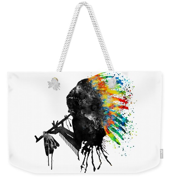 Indian Silhouette With Colorful Headdress Weekender Tote Bag