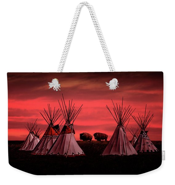 Indian Tepees At Sunset With American Bison Weekender Tote Bag