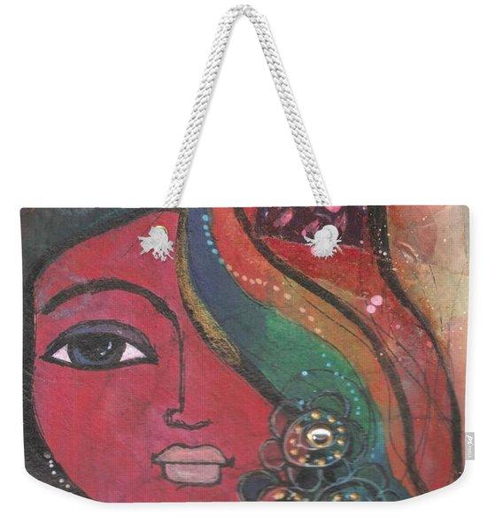 Indian Woman With Flowers  Weekender Tote Bag