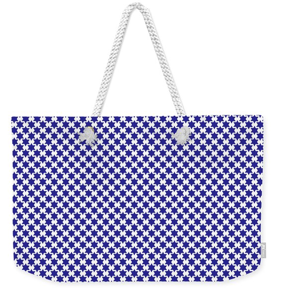 Indigo And White Star Of David- Art By Linda Woods Weekender Tote Bag