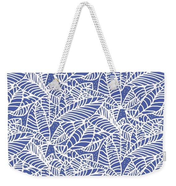Indigo Batik Leaves Medium Weekender Tote Bag