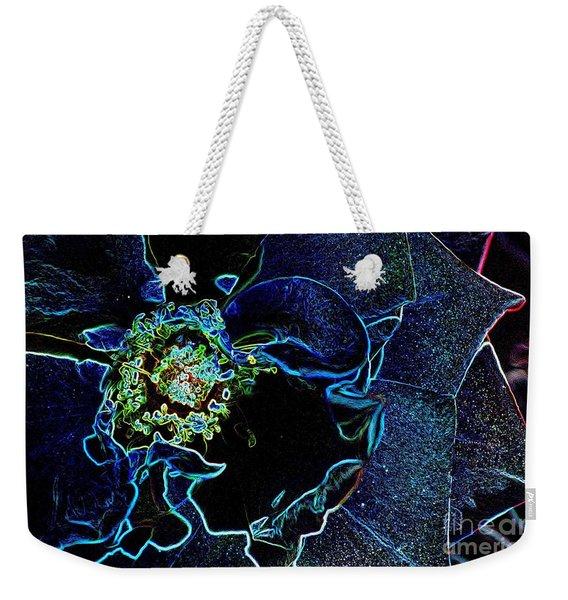 Indigo Neon Rose Weekender Tote Bag