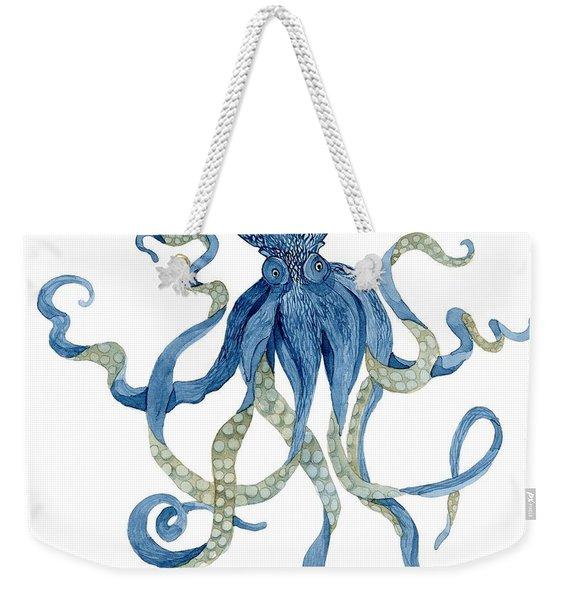 Indigo Ocean Blue Octopus  Weekender Tote Bag