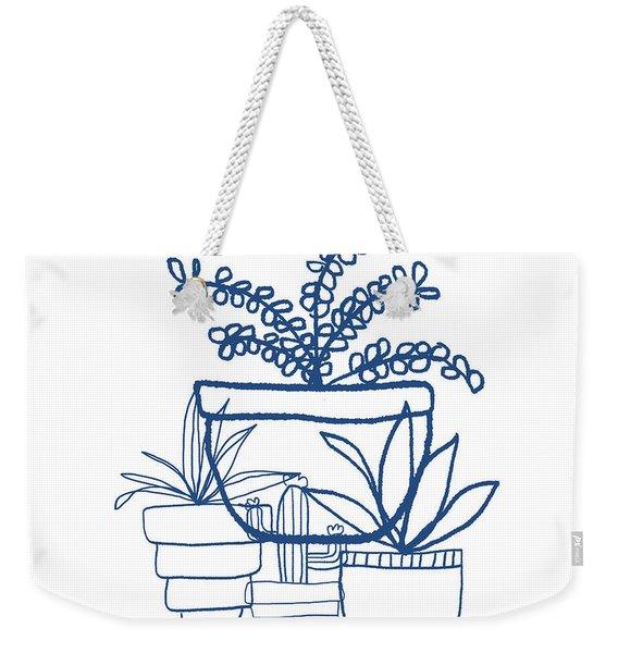 Indigo Potted Succulents- Art By Linda Woods Weekender Tote Bag
