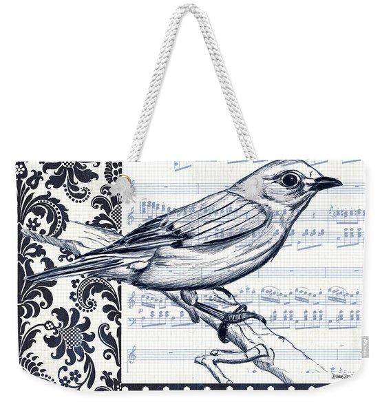Indigo Vintage Songbird 1 Weekender Tote Bag