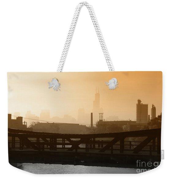 Industrial Foggy Chicago Skyline Weekender Tote Bag