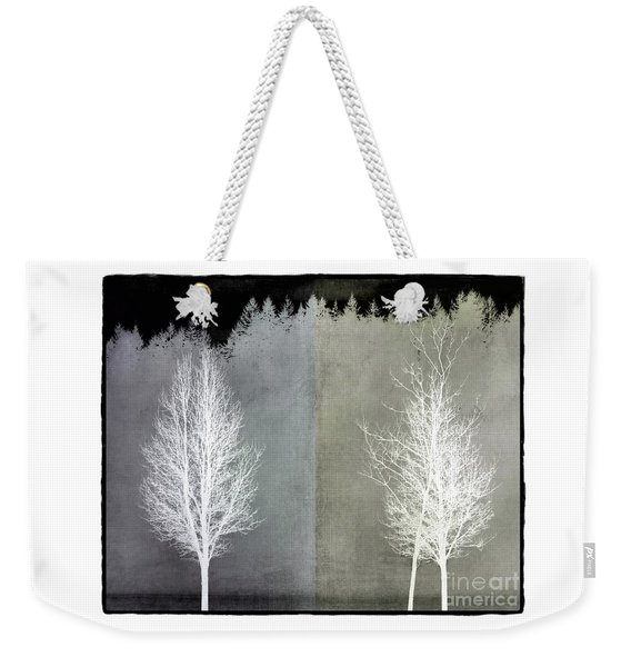 Weekender Tote Bag featuring the mixed media Infrared Trees With Texture by Patricia Strand