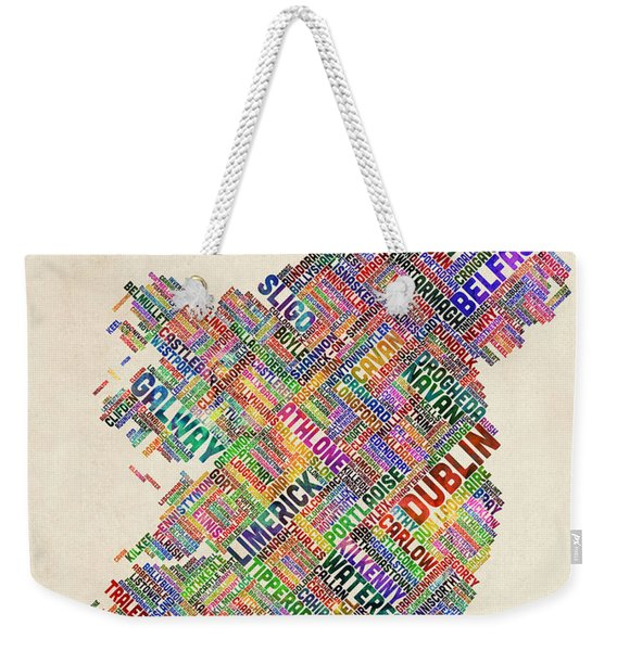 Ireland Eire City Text Map Derry Version Weekender Tote Bag