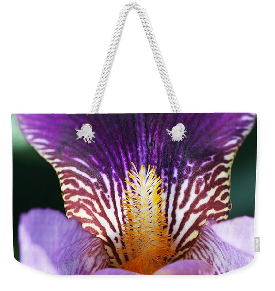 Weekender Tote Bag featuring the photograph Iris Close Up by William Selander