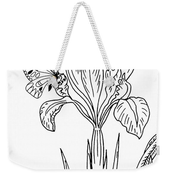 Iris Flower And Butterfly Drawing Weekender Tote Bag
