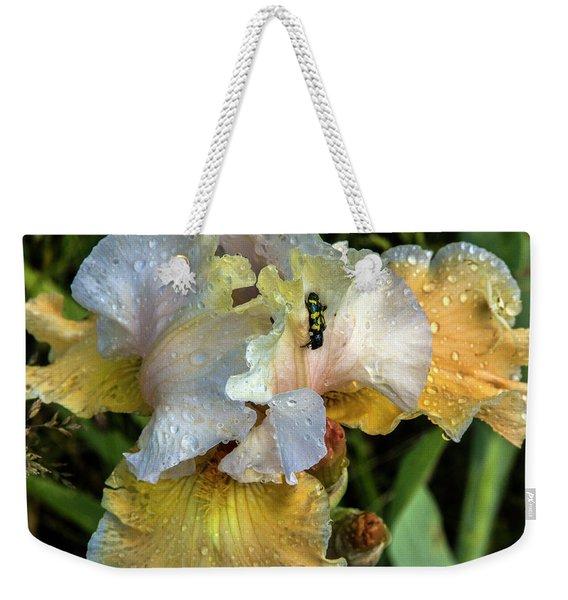 Iris In The Rain Weekender Tote Bag